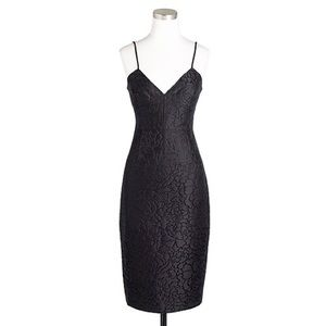 J. Crew Floral Glitter Black Jacquard Dress - 00